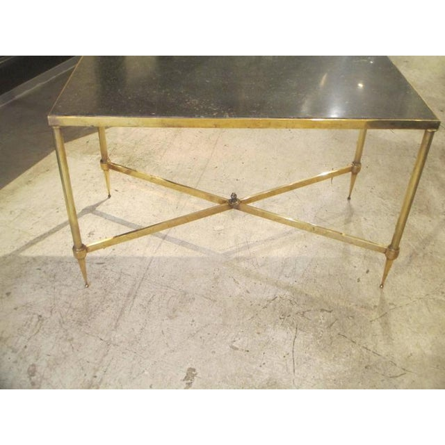 Neoclassical Bagues Brass Coffee Table With Marble Top For Sale - Image 3 of 7