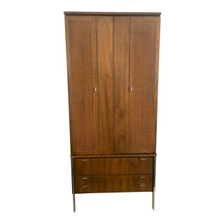 1960s American Classical Walnut Armoire and Hutch For Sale