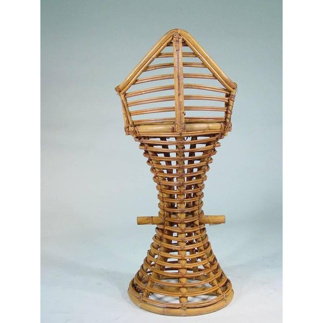 Restored Stick Rattan Bar Stools in the Manner of Albini, Set of Three - Image 6 of 6