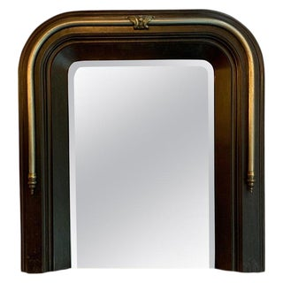 Late 19th Century Neoclassical Cast Iron and Brass Wall Mirror For Sale