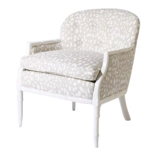 Faux Bamboo Club Chair Upholstered in Jan Showers for Kravet Fabric, C. 1960 For Sale