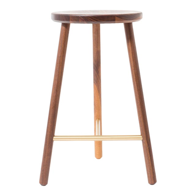 Steven Bukowski Contemporary Scout Stool in Walnut and Brass For Sale