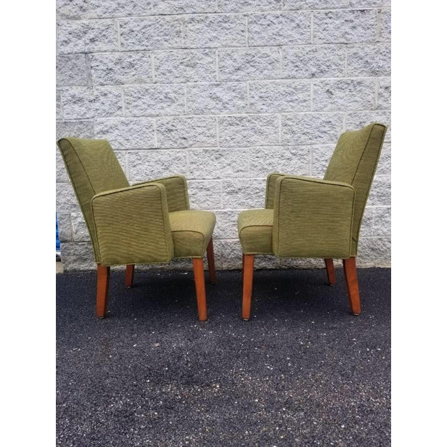 Wood Mid Century Modern Green Lounge Chairs by Milwaukee Chair Company - Pair For Sale - Image 7 of 9