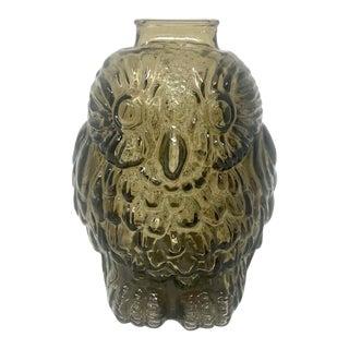 Vintage Smoked Glass Owl Bank For Sale