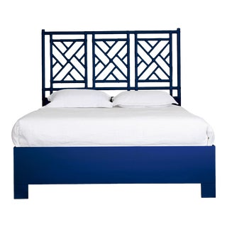 Chippendale Bed Queen - Navy Blue For Sale
