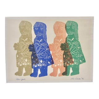 "Alec Cowan Signed Vintage 1960s Signed Wood Cut Block Print ""Four Girls"" For Sale"