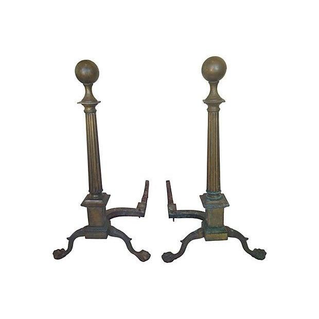 Bronze Column Andirons - a Pair - Image 3 of 5