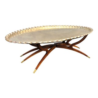 Vintage Indian Brass Tray Coffee Table For Sale