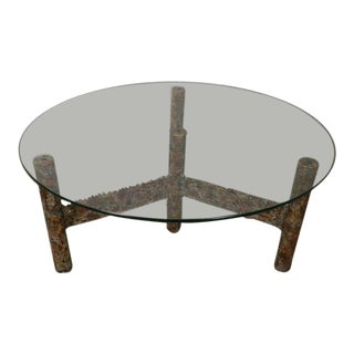 Round Glass Top Coffee Table by Silas Seandel For Sale