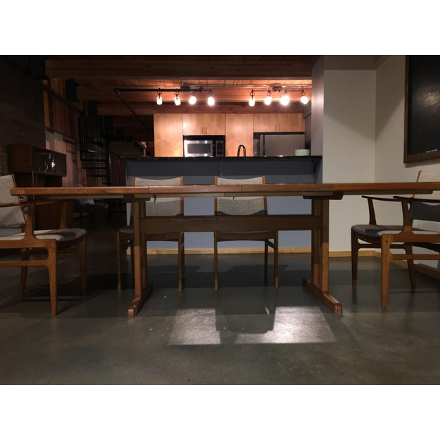 Danish Modern Teak Extension Table With 2 Leaves and 6 Teak and Linen Chairs For Sale In Minneapolis - Image 6 of 9