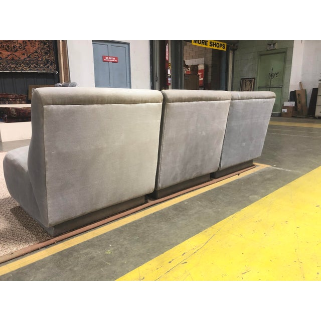Contemporary Vintage Velvet Modular Sectional by Selig For Sale - Image 3 of 8