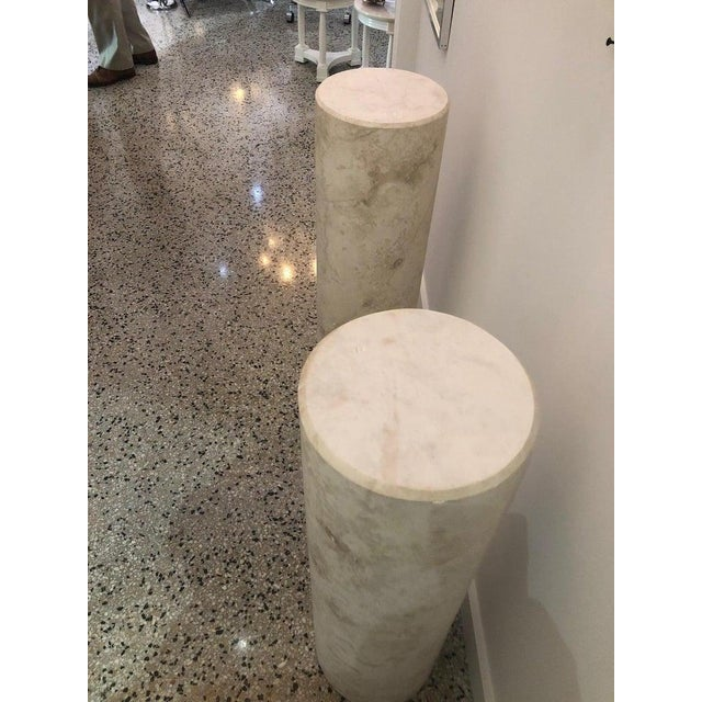 Italian Sandstone Double Pedestal Console Tables - a Pair For Sale - Image 9 of 13