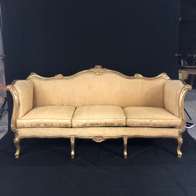French Louis XV Style Giltwood Sofa For Sale - Image 13 of 13