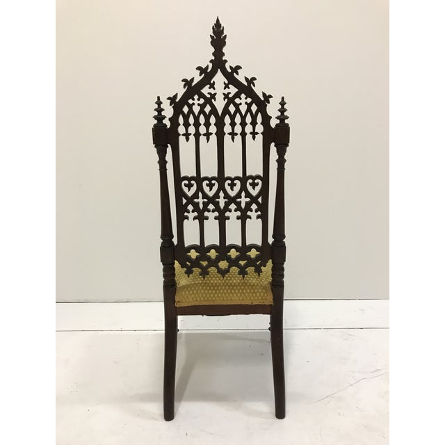 Coffee 19th Century Victorian Gothic Period Petite Side Chair For Sale - Image 8 of 11
