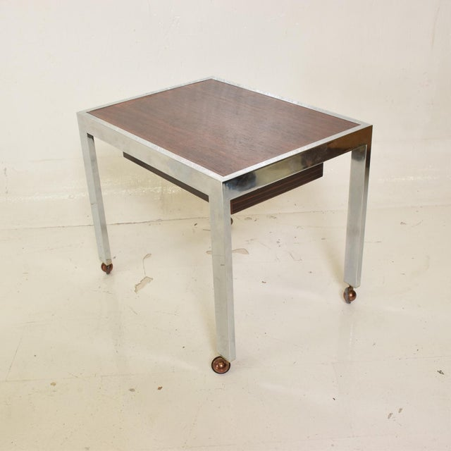 Danish Modern Scandinavian Danish Modern Side Table in Rosewood and Chrome For Sale - Image 3 of 9