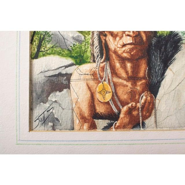 1970s Original William Sauts Netamuxwe Bock Watercolor For Sale - Image 5 of 7