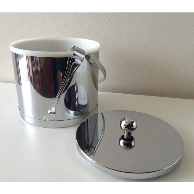 Vintage Chrome Ice Bucket With Tongs - Image 4 of 6