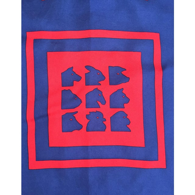 Vintage Italian Blue Silk Fabric Square - Image 4 of 7
