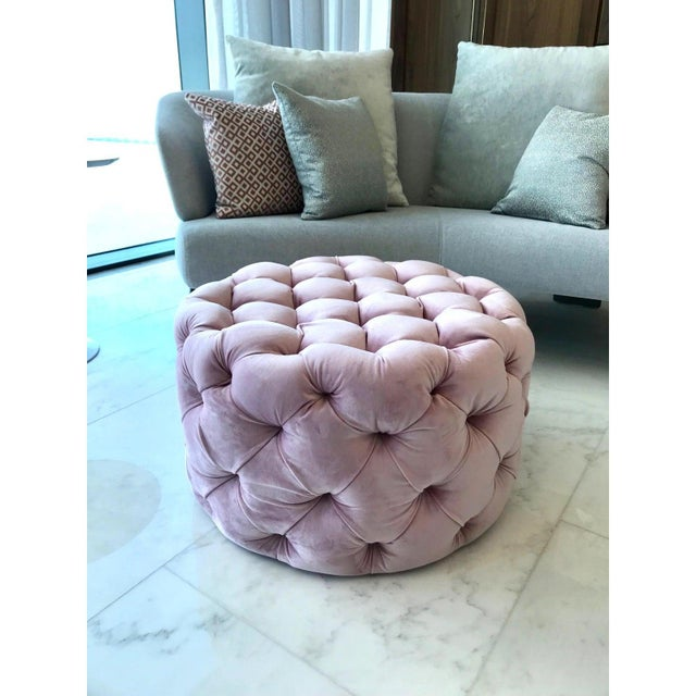 Custom made blush pink velvet round ottoman. Hollywood Regency design with tufting throughout. Perfect scale for any...