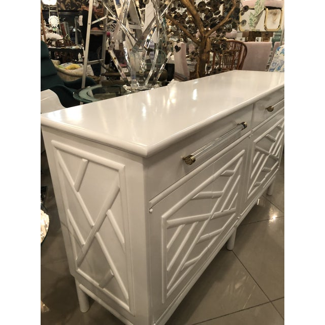 Lacquered White Chinese Chippendale Faux Bamboo Lucite Brass Credenza Buffet - Image 9 of 13