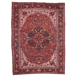 Oversize Antique Persian Heriz Rug with Modern Style, 12' x 16' For Sale