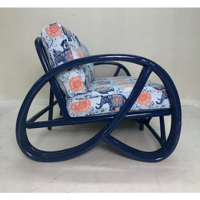 Boho Chic Vintage Navy Pretzel Rattan Sofa For Sale - Image 3 of 7