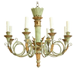 1960s Italian Neoclassical Giltwood Chandelier For Sale