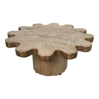 1970s Contemporary Bleached Wooden Gear-Shaped Coffee Table For Sale