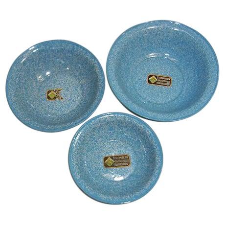 Vintage Light Blue German Enamel Bowls - Set of 3 - Image 1 of 4