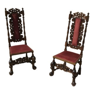 Jacobean Style Carved Wood Dining Chairs - a Pair