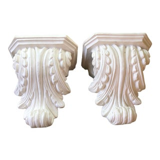 Vintage Mid Century White Plaster Rococo Scroll Corbels or Wall Brackets- a Pair For Sale