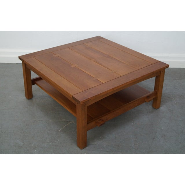 Stickley Cherry Mission Style Square Coffee Table - Image 5 of 10