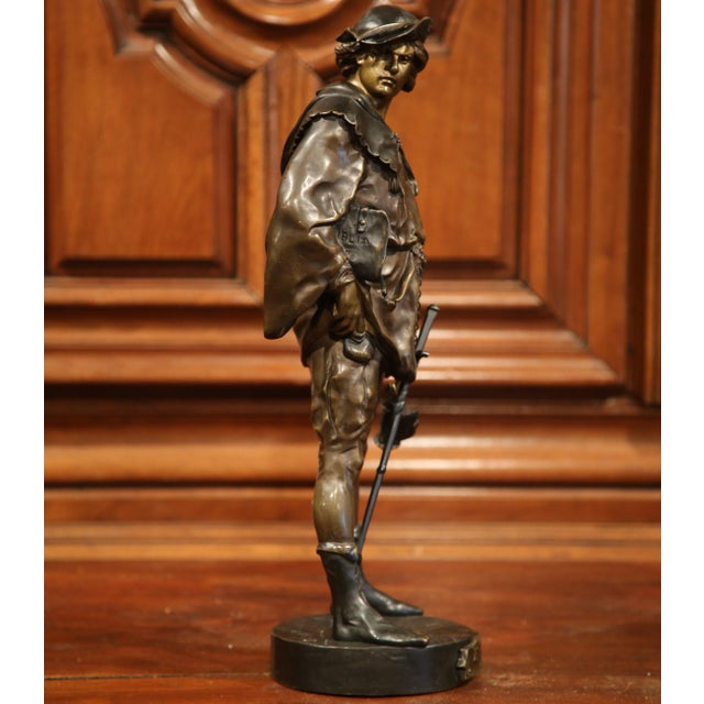 """19th Century French Patinated Bronze Figure """"L'escholier"""" Signed Emile Picault For Sale - Image 4 of 10"""