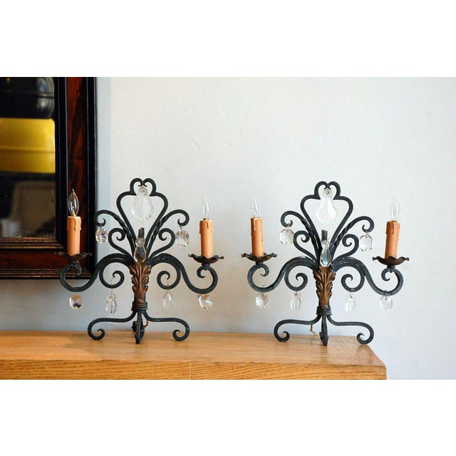 Mid 20th Century 1940s Chic French Candelabra Lights - a Pair For Sale - Image 5 of 5