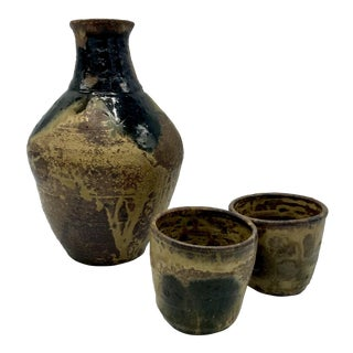 Studio Pottery Drip Glaze Sake Set - Set of 3 For Sale