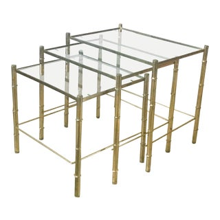 20th Century Hollywood Regency Brass Faux Bamboo Nesting Tables - Set of 3