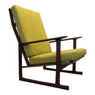 Ib Kofod Larsen for Selig Lattice Back Lounge Chair With Sled Base For Sale