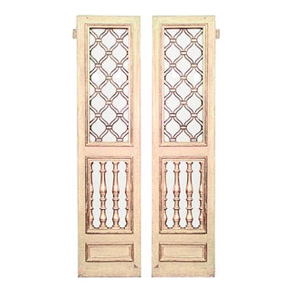 Italian Neoclassic Painted Wood and Glass Doors - a Pair For Sale