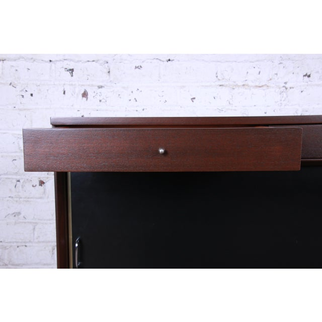 Black Paul McCobb Calvin Group Mahogany and Brass Credenza For Sale - Image 8 of 13