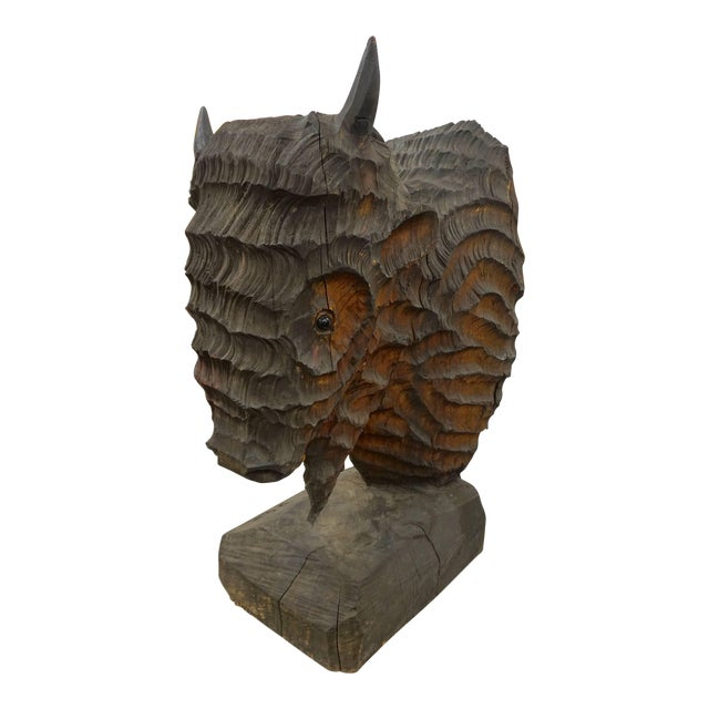 Extraordinary Chainsaw Sculpted Buffalo Head For Sale