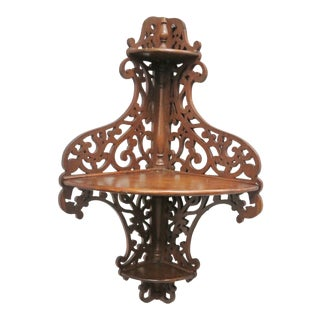19th Century Victorian Carved Walnut Hanging Shelf