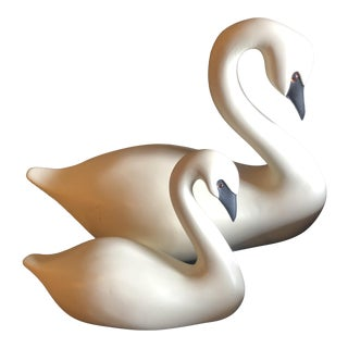Mid Century White Swan Decoys - a Pair For Sale