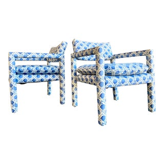 Vtg Milo Baughman for Thayer Coggin Parsons Club Chairs- a Pair For Sale