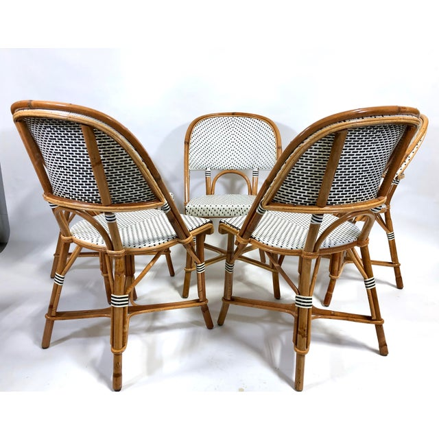 French Maillot French Bistro Woven Bamboo Rattan Chairs—Set of 5 For Sale - Image 3 of 13