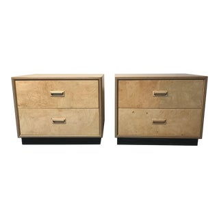 Henredon Scene Burl Wood Nightstands - Pair For Sale