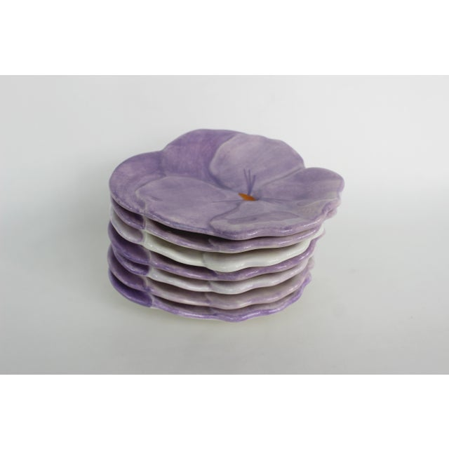 Italian Ernestine Cannon Pansy Plates - Set of 7 For Sale - Image 3 of 9