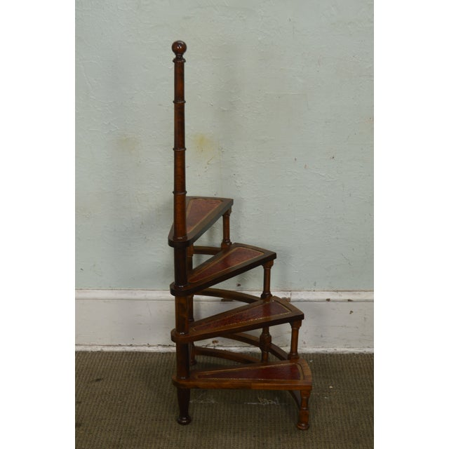 English Regency Style Carved Mahogany Tooled Leather Spiral Library Steps For Sale - Image 4 of 13