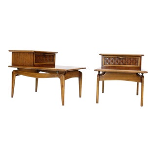 Pair of Walnut Lane Step Tables One Drawer Floating Tops Brass Ball Stand Offs For Sale