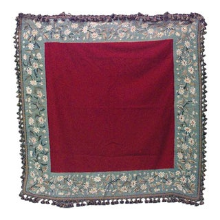 American Victorian Maroon and Blue Needlepoint Table Cover For Sale