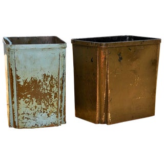 Art Deco Industrial Metal Factory Wastebaskets For Sale